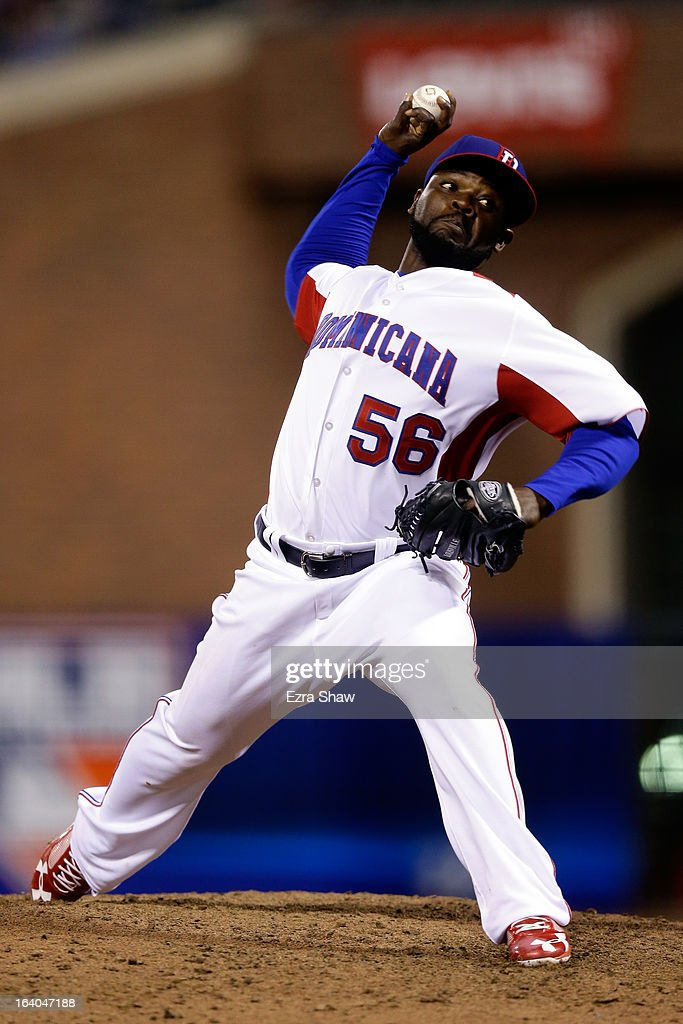 Rodney Fernando #56 of the Dominican Republic pitches against the Netherlands during the semifinal of the World Baseball Classic at AT&T Park on March 18, 2013 in San Francisco, California.