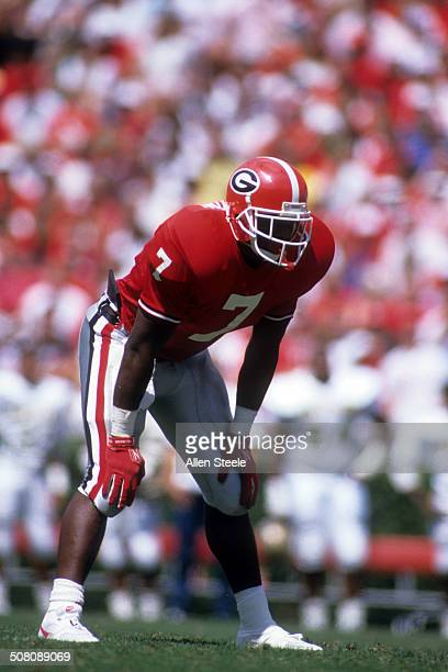 Rodney Hampton of the Georgia Bulldogs waits in the backfield during the game against the Baylor Bears on September 16 1989 at Sanford Stadium in...
