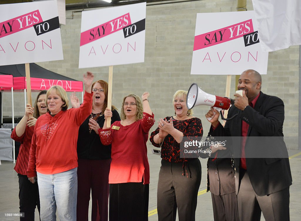 Rodney Harden and Representatives cheer as Avon Kicks off the SAY YES TO AVON BEAUTY on January 11, 2013 in Columbus, Ohio.