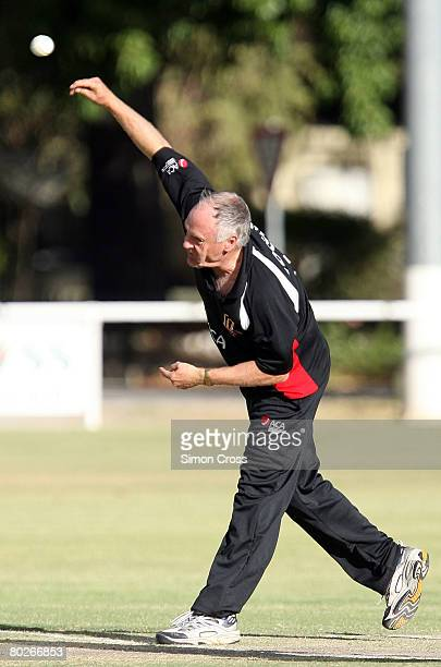 Rodney Hogg bowls during the Australian Cricketers' Association Masters Tour match between a Barossa Valley Invitational XI and a Australian...