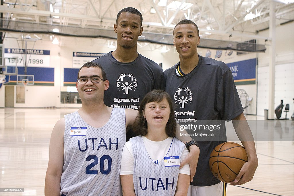 Rodney Hood #11 and Dante Exum #11of the Utah Jazz work with kids at a Special Olympics event at the Zions Basketball Center on June 28, 2014 in Salt Lake City, Utah.