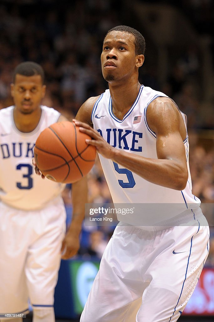 Rodney Hood #5 of the Duke Blue Devils concentrates at the free throw line against the Maryland Terrapins at Cameron Indoor Stadium on February 15, 2014 in Durham, North Carolina. Duke defeated Maryland 69-67.