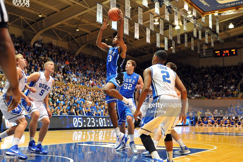Rodney Hood #13 of the Duke Blue Devils goes to the hoop during Countdown to Craziness at Cameron Indoor Stadium on October 19, 2012 in Durham, North Carolina.