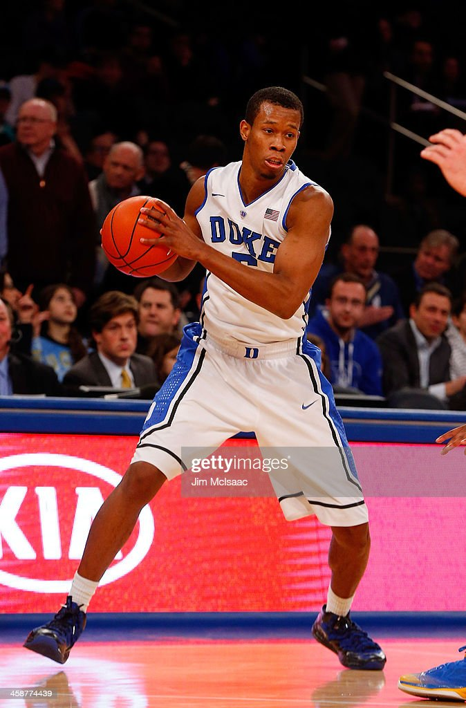 Rodney Hood #5 of the Duke Blue Devils in action against the UCLA Bruins during the CARQUEST Auto Parts Classic on December 19, 2013 at Madison Square Garden in New York City. Duke defeated UCLA