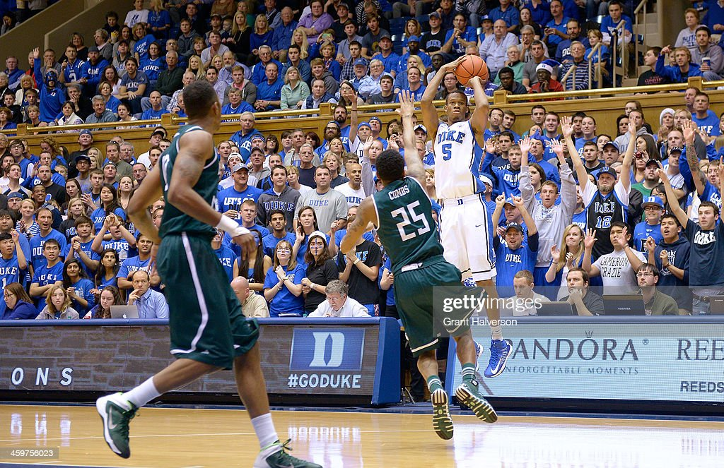 Rodney Hood #5 of the Duke Blue Devils shoots against the Eastern Michigan Eagles during their game at Cameron Indoor Stadium on December 28, 2013 in Durham, North Carolina. Duke won 82-59.