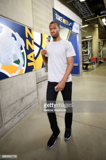 Rodney Hood of the Utah Jazz arrives at the arena before Game Three of the Western Conference Semifinals against the Golden State Warriors during the...