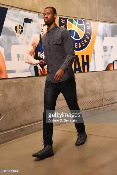 Rodney Hood of the Utah Jazz arrives before Game Four of the Western Conference Semifinals of the 2017 NBA Playoffs on May 8 2017 at vivintSmartHome...