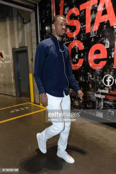 Rodney Hood of the Utah Jazz arrives before the game against the LA Clippers in Game Five of the Western Conference Quarterfinals of the 2017 NBA...