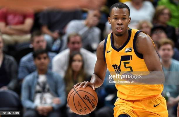Rodney Hood of the Utah Jazz brings the ball up court against the Milwaukee Bucks during their game at Vivint Smart Home Arena on November 25 2017 in...