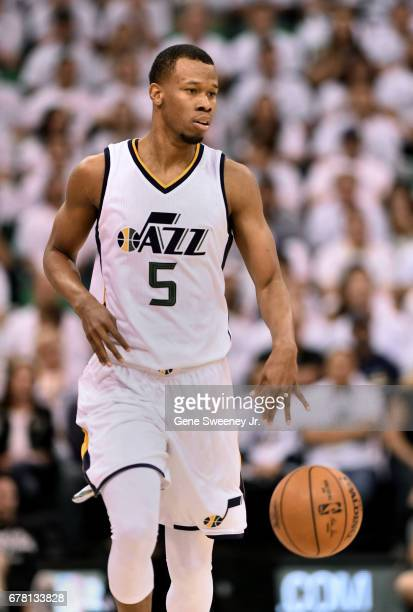 Rodney Hood of the Utah Jazz brings the ball up court in the first half against the Los Angeles Clippers in Game Four of the Western Conference...
