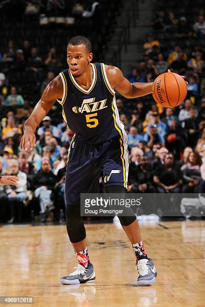 Rodney Hood of the Utah Jazz controls the ball against the Denver Nuggets at Pepsi Center on November 5 2015 in Denver Colorado The Jazz defeated the...