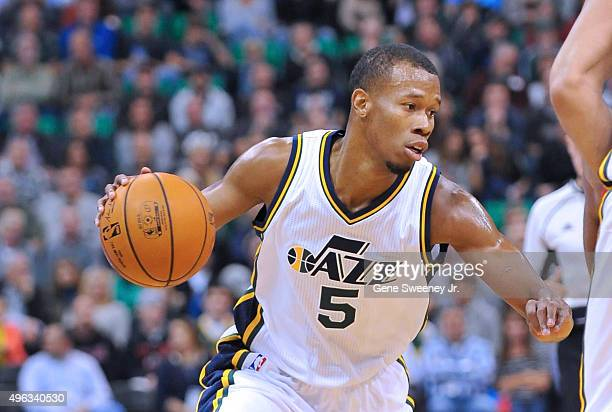 Rodney Hood of the Utah Jazz controls the ball against the Portland Trail Blazers at Vivint Smart Home Arena on November 4 2015 in Salt Lake City...