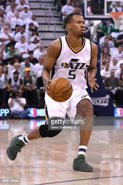 Rodney Hood of the Utah Jazz controls the ball in the first half against the Los Angeles Clippers in Game Three of the Western Conference...