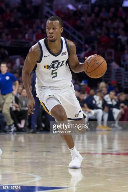 Rodney Hood of the Utah Jazz dribbles the ball against the Philadelphia 76ers at the Wells Fargo Center on November 20 2017 in Philadelphia...