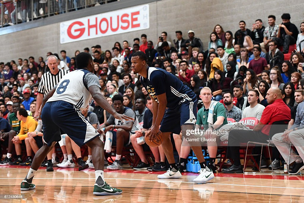 Rodney Hood #5 of the Utah Jazz dribbles the ball during a scrimmage on September 30, 2016 at the Granger High School in Salt Lake City, Utah.