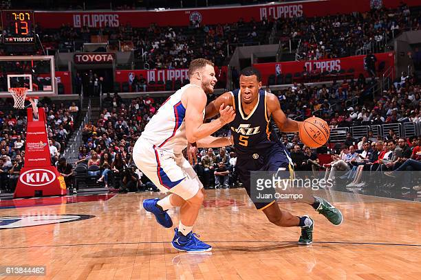 Rodney Hood of the Utah Jazz drives to the basket against the Los Angeles Clippers during a preseason game on October 10 2016 at STAPLES Center in...