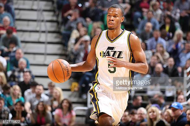 Rodney Hood of the Utah Jazz drives to the basket against the Brooklyn Nets during the game on February 27 2016 at Vivint Smart Home Arena in Salt...