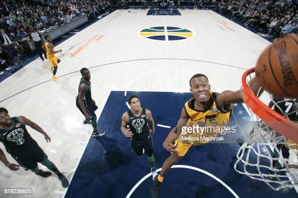Rodney Hood of the Utah Jazz dunks against the Milwaukee Bucks on November 25 2017 at vivintSmartHome Arena in Salt Lake City Utah NOTE TO USER User...