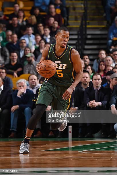 Rodney Hood of the Utah Jazz handles the ball against the Boston Celtics on February 29 2016 at the TD Garden in Boston Massachusetts NOTE TO USER...