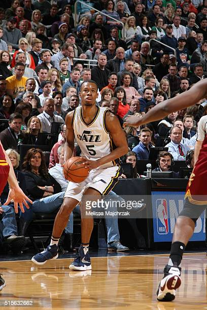 Rodney Hood of the Utah Jazz handles the ball against the Cleveland Cavaliers on March 14 2016 at vivintSmartHome Arena in Salt Lake City Utah NOTE...