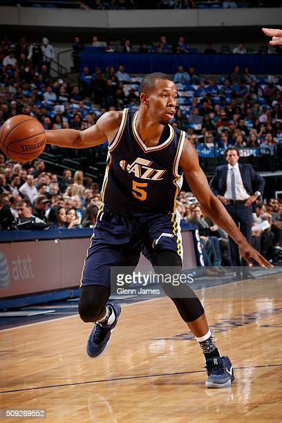 Rodney Hood of the Utah Jazz handles the ball against the Dallas Mavericks on February 9 2016 at the American Airlines Center in Dallas Texas NOTE TO...