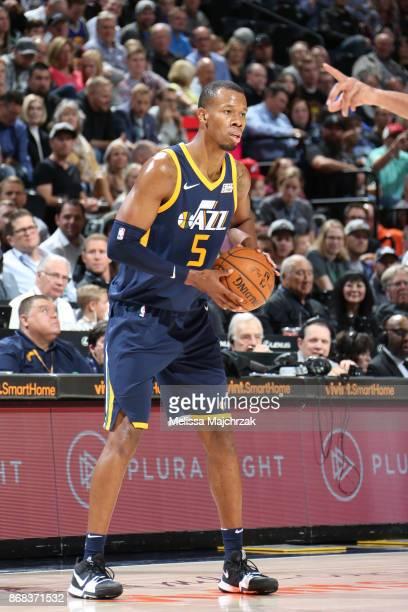Rodney Hood of the Utah Jazz handles the ball against the Dallas Mavericks on October 30 2017 at Vivint Smart Home Arena in Salt Lake City Utah NOTE...