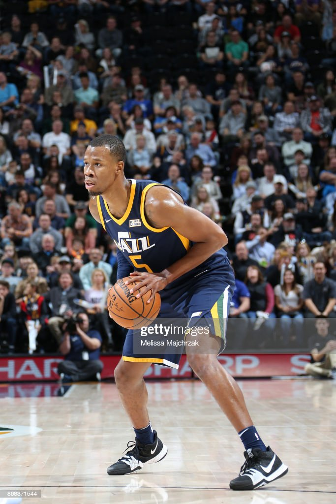 Rodney Hood #5 of the Utah Jazz handles the ball against the Dallas Mavericks on October 30, 2017 at Vivint Smart Home Arena in Salt Lake City, Utah.
