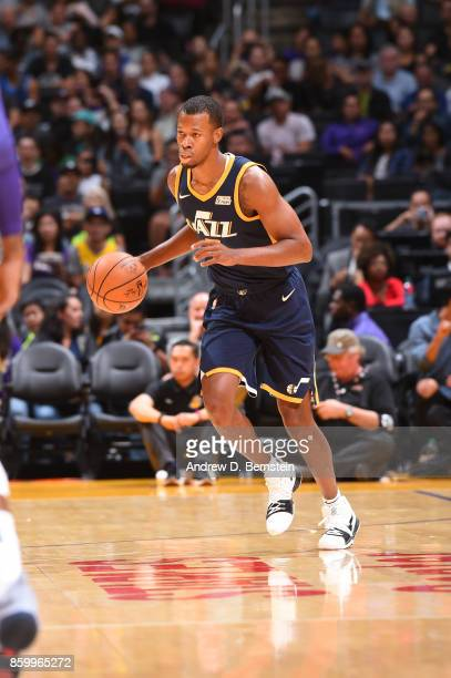 Rodney Hood of the Utah Jazz handles the ball against the Los Angeles Lakers during a preseason game on October 10 2017 at STAPLES Center in Los...