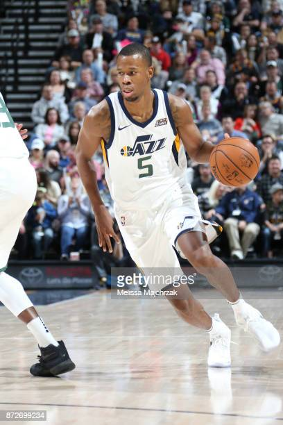 Rodney Hood of the Utah Jazz handles the ball against the Miami Heat on November 10 2017 at Vivint Smart Home Arena in Salt Lake City Utah NOTE TO...