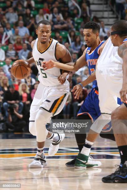 Rodney Hood of the Utah Jazz handles the ball against the New York Knicks on March 22 2017 at vivintSmartHome Arena in Salt Lake City Utah NOTE TO...