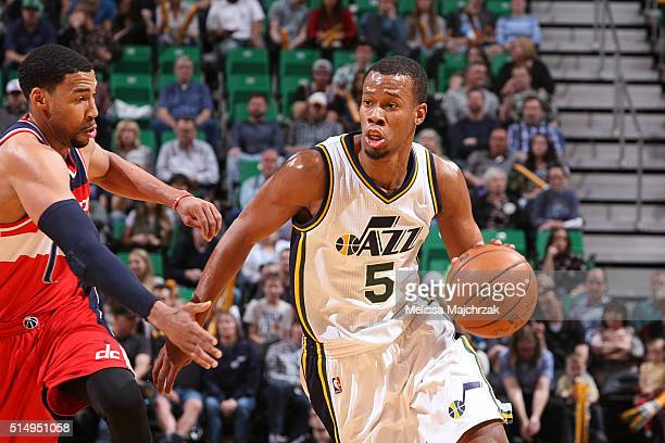 Rodney Hood of the Utah Jazz handles the ball against the Washington Wizards on March 10 2016 at vivintSmartHome Arena in Salt Lake City Utah NOTE TO...