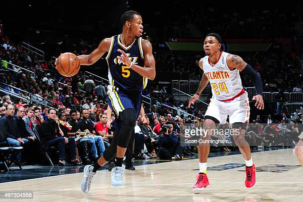Rodney Hood of the Utah Jazz handles the ball during the game on November 15 2015 at Philips Center in Atlanta Georgia NOTE TO USER User expressly...