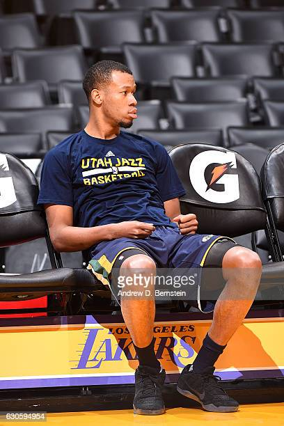 Rodney Hood of the Utah Jazz is seen before the game against the Los Angeles Lakers on December 27 2016 at STAPLES Center in Los Angeles California...