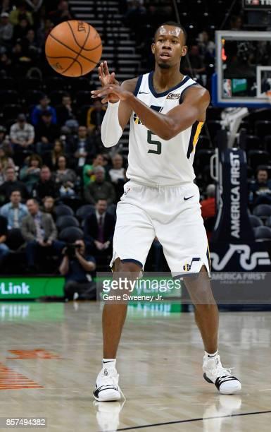 Rodney Hood of the Utah Jazz passes the ball against the Sydney Kings at Vivint Smart Home Arena on October 2 2017 in Salt Lake City Utah NOTE TO...