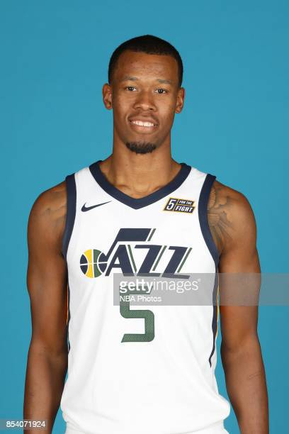 Rodney Hood of the Utah Jazz poses for a head shot during media day at Zions Bank Basketball Center on September 25 2017 in Salt Lake City Utah NOTE...
