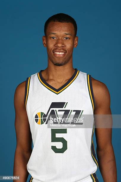 Rodney Hood of the Utah Jazz poses for a photo during Media Day at Zions Basketball Center on September 28 2015 in Salt Lake City Utah NOTE TO USER...