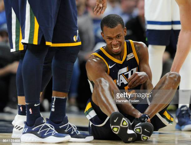 Rodney Hood of the Utah Jazz reacts after injuring his ankle during the fourth quarter of the game against the Minnesota Timberwolves on October 20...
