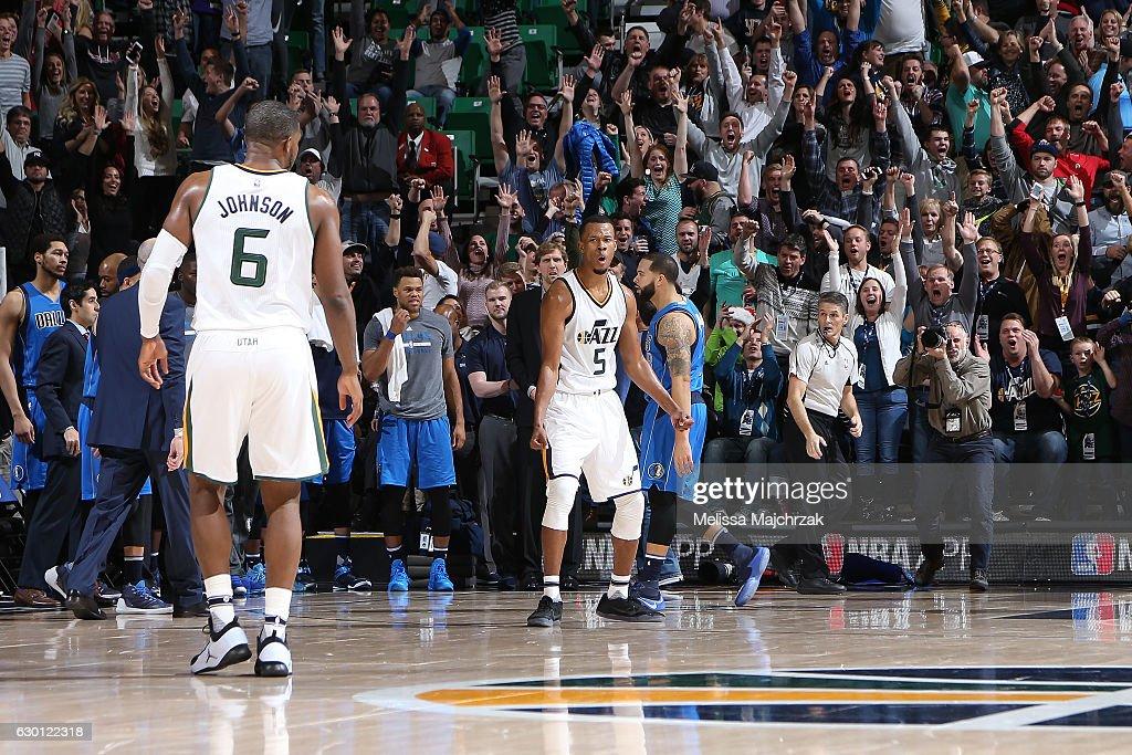 Rodney Hood #5 of the Utah Jazz reacts after making game winning basket during the game against the Dallas Mavericks on December 16, 2016 at vivint.SmartHome Arena in Salt Lake City, Utah.