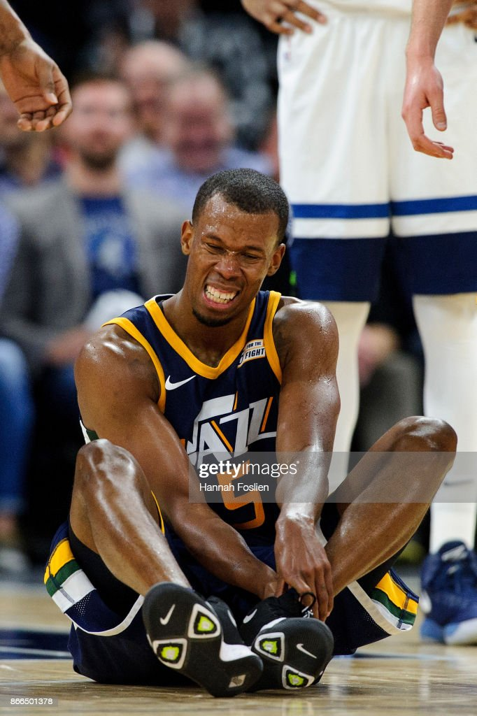 Rodney Hood #5 of the Utah Jazz reacts to an ankle injury during the game against the Minnesota Timberwolves on October 20, 2017 at the Target Center in Minneapolis, Minnesota. The Timberwolves defeated the Jazz 100-97.