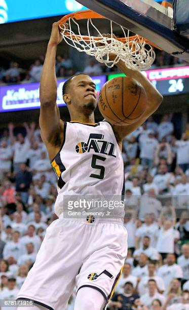 Rodney Hood of the Utah Jazz scores in the first half against the Los Angeles Clippers in Game Six of the Western Conference Quarterfinals during the...