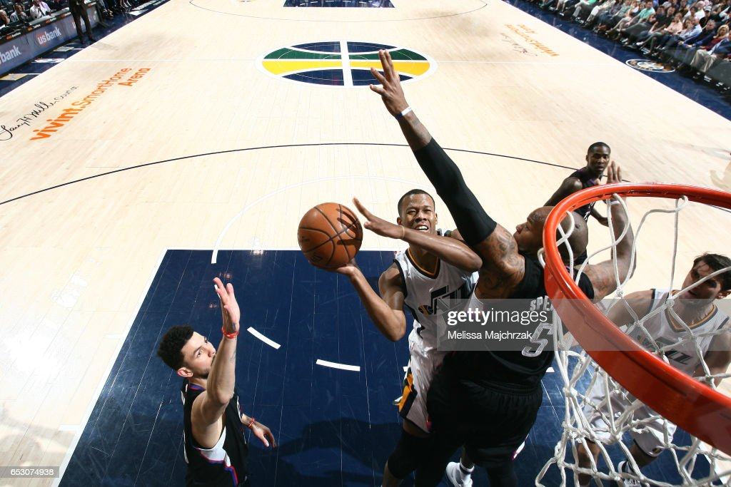 Rodney Hood #5 of the Utah Jazz shoots a lay up during the game against the Los Angeles Clippers on March 13, 2017 at EnergySolutions Arena in Salt Lake City, Utah.