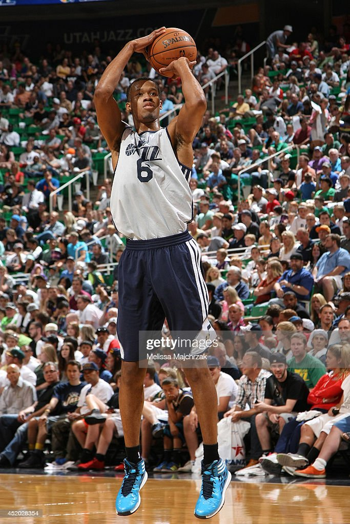 Rodney Hood #6 of the Utah Jazz shoots during an open scrimmage at Energy Solutions Arena on July 8, 2014 in Salt Lake City, Utah.