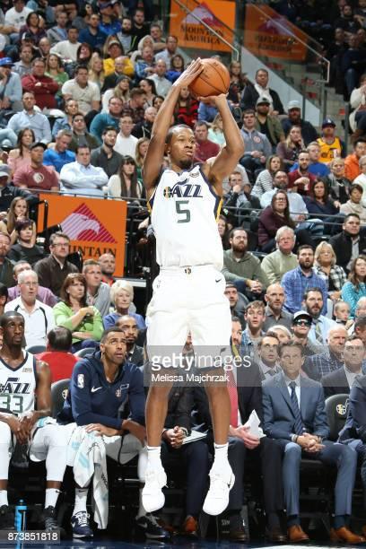 Rodney Hood of the Utah Jazz shoots the ball against the Minnesota Timberwolves on Novemeber 13 2017 at Vivint Smart Home Arena in Salt Lake City...