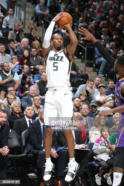 Rodney Hood of the Utah Jazz shoots the ball against the Sydney Kings during a preseason game on October 2 2017 at vivintSmartHome Arena in Salt Lake...