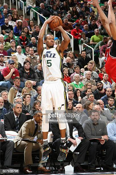 Rodney Hood of the Utah Jazz shoots the ball during the game against the Chicago Bulls on February 1 2016 at EnergySolutions Arena in Salt Lake City...