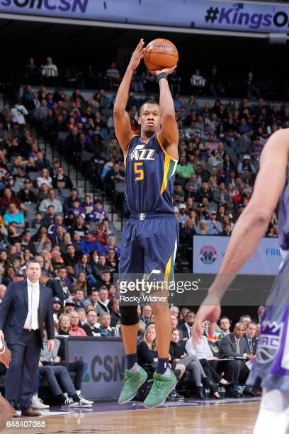 Rodney Hood of the Utah Jazz shoots the ball during the game against the Sacramento Kings on March 5 2017 at Sleep Train Arena in Sacramento...
