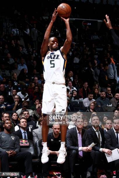 Rodney Hood of the Utah Jazz shoots the ball during the game against the Brooklyn Nets on November 17 2017 at Barclays Center in Brooklyn New York...