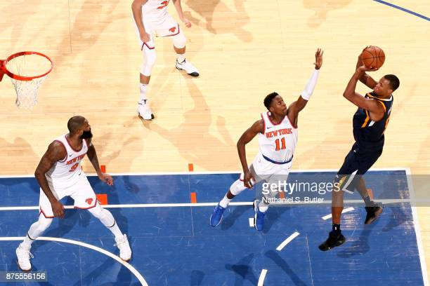 Rodney Hood of the Utah Jazz shoots the ball during the game against the New York Knicks on November 15 2017 at Madison Square Garden in New York...