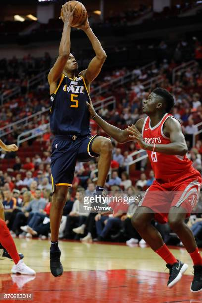 Rodney Hood of the Utah Jazz shoots the ball over Clint Capela of the Houston Rockets in the first half at Toyota Center on November 05 2017 in...