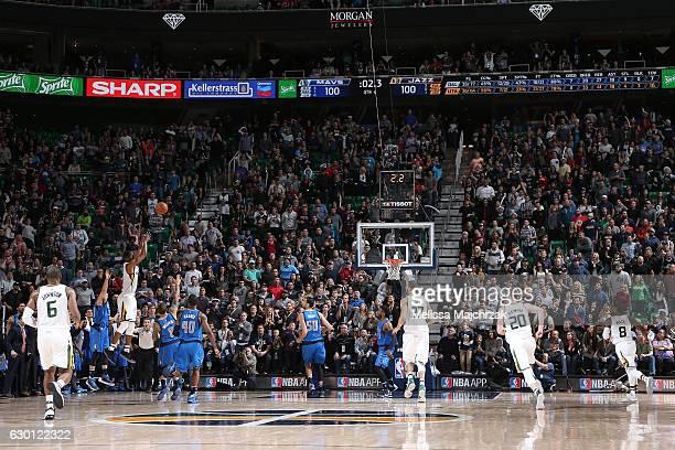 Rodney Hood of the Utah Jazz shoots the game winning basket during the game against the Dallas Mavericks on December 16 2016 at vivintSmartHome Arena...